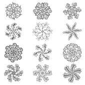 Conjunto de copos de nieve. — Vector de stock