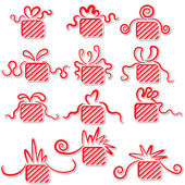 Holiday gifts with ribbons. — Stock Vector