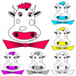Royalty-Free Stock Vector Image: Funny cow on white. Coloring book.
