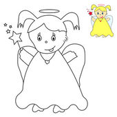 Little angel with magic wand. Coloring book — Stock Vector