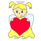Little angel with heart and magic wand — Stock Vector