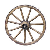 Old Wooden Wheel isolated on white background — Stock Photo