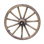 孤立在白色背景上的老木轮 — 图库照片