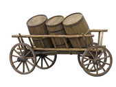Old cart with three barrels for transport of beer or wine — Stock Photo