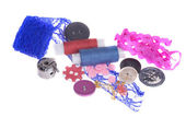 Sewing accessories: threads, pins, buttons, hook, lace — Stock Photo