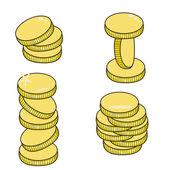 Χρυσά νομίσματα που απομονώνονται σε λευκό φόντο — Διανυσματικό Αρχείο
