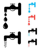 Set of Tap. Isolated on white background with drops. A vector illustration — Wektor stockowy