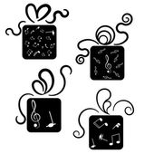 Gift box icons with treble glef and notes — Stock Vector