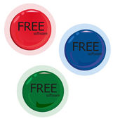 Free software. Set of red green blue button. — Stock Vector