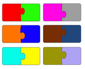 Six parts of color puzzle. A vector illustration — Stock Vector