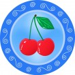 Red cherries on a plate. — Stock Vector #8417166