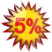 Stella sconto del cinque per cento — Foto Stock