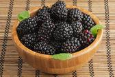 Blackberries in Wooden Bowl — Stock Photo