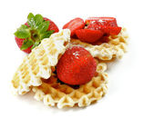 Waffles and Strawberries — Stock Photo