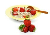 Healthy Breakfast and Strawberries — Stockfoto