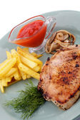 Pork Steak, French Fries and Grilled Onions — Stock Photo