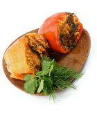 Stuffed Red and Yellow Bell Peppers — Stock Photo