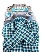 Stack of Plaid Long Sleeved Men — Stock Photo