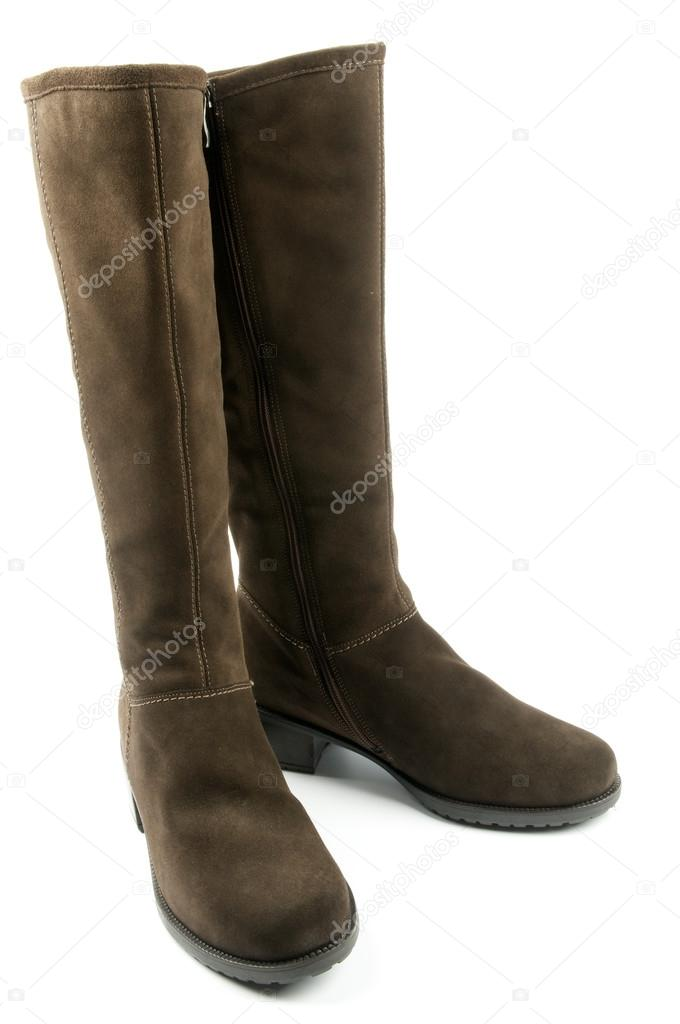 Pair of Brown Chamois Leather Female Boots isolated on white background — Stock Photo #13372244