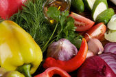 Bell Pepper and Various Vegetables — Stock Photo