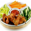 Chicken Wings Platter and Vegetables — Stock Photo #13639398