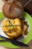 Omelet and Bun — Stock Photo