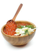 Wood Bowl of Red Caviar — Stock Photo