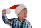 Merry Christmas Boy with Santa Hat — Stock Photo