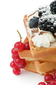 Belgian Waffle and Berries — Stock Photo