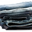 Stack of Folded New Jeans — Stock Photo