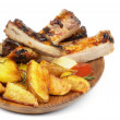 Barbecue Pork Ribs and Roasted Potato - Foto Stock