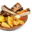 Barbecue Pork Ribs and Roasted Potato — Stock Photo
