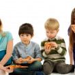 Children Eating Pizza — Stock Photo