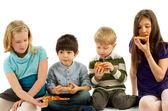 Children Eating Pizza — Stock Photo
