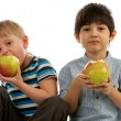 Two Boys with Apples — Stock Photo