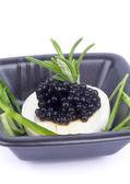 Black Caviar Snack — Stock Photo
