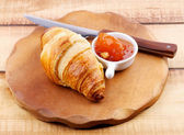 Croissant and Jam — Stock Photo