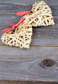 Two Wicker Hearts — Stock Photo