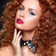 Sexy redhead young woman model with jewelery — Stock Photo #18632847