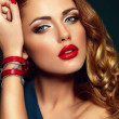 High fashion look.glamor closeup portrait of beautiful sexy stylish brunette Caucasian young woman model with bright makeup, with red lips, with perfect clean skin with accessories in studio — Stock Photo