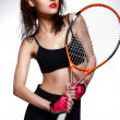 High fashion look.glamor closeup portrait of beautiful sexy stylish brunette Caucasian young professional tennis player woman model with bright makeup, with red lips with racket — Stock Photo #26921027