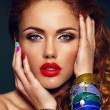 High fashion look.glamor closeup portrait of beautiful sexy stylish Caucasian young woman model with bright makeup, with red lips, with perfect clean skin — Stock Photo