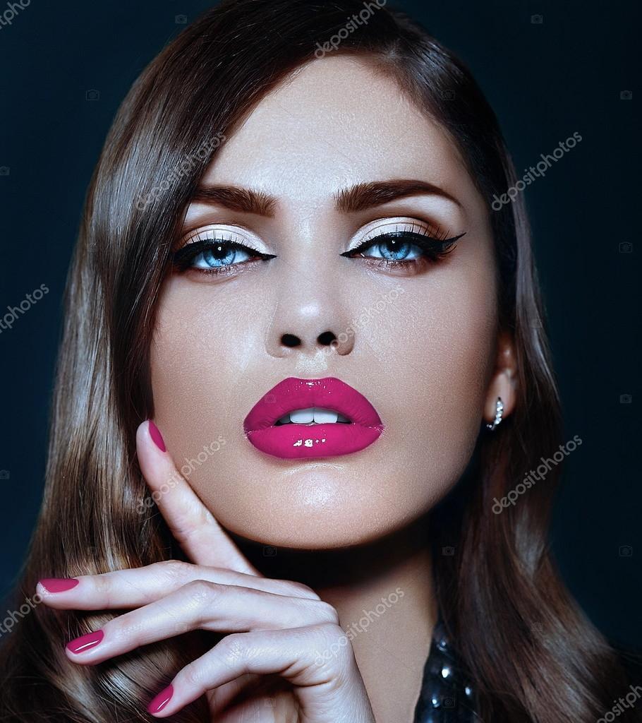 closeup portrait of beautiful sexy stylish Caucasian young woman