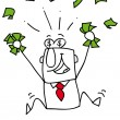 Very happy man under a rain of cash — Stock Vector