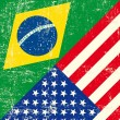 Stok Vektör: Brazil and USgrunge Flag.