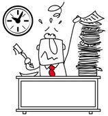 Illustrazione di un uomo al lavoro, alla sua scrivania — Vettoriale Stock