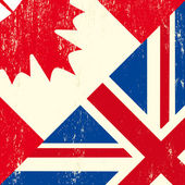 UK and Canadian grunge flag — Stock Vector