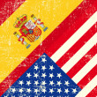 USA and Spain grunge Flag — Vector de stock