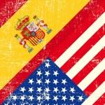 Bandiera di grunge USA e Spagna — Vettoriale Stock