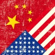 Vector de stock : USand Chinese grunge Flag